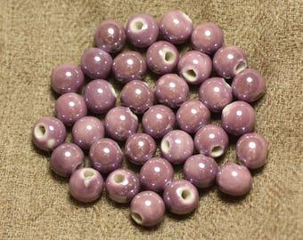 10pc - pearls porcelain ceramic purple iridescent pink balls 8 mm 4558550010070