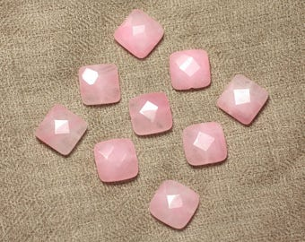 2PC - jade stone - faceted 14mm light pink - 4558550029874 squares