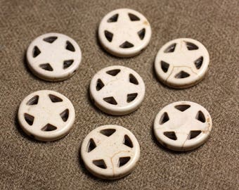 10pc - beads Turquoise synthetic Circle Star 20 mm white cream 4558550010087