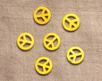 Beads Turquoise synthetic Peace and Love yellow 15 mm - 10pc 4558550033178 bag