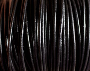 Skein 90 meters - wire cord genuine black leather 1.5 mm - 8741140011236