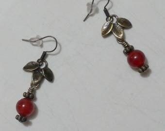 Meera red Agate earrings silver metal