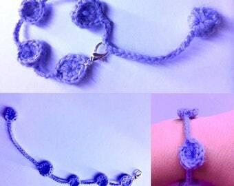 Pretty purple color crochet bracelet