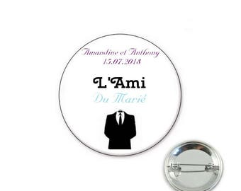 Custom friend wedding - o32mm pin badge