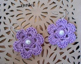 violet crochet earrings flower