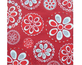 Set of 3 napkins HOD104 grey flowers stylized on red background