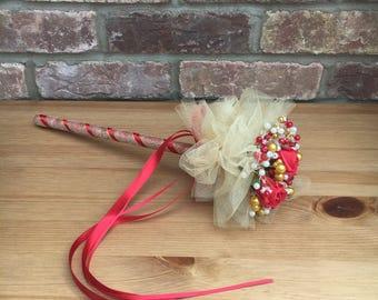 Brides / Bridesmaid Bouquet Wand. Gold / Red. Wedding.
