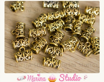 50 bails in antique gold gold openwork 11x5mm