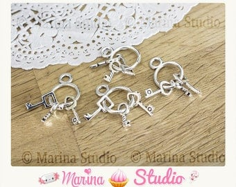 10 charms Keychain with silver Tibetan 27x12mm