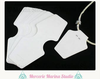 25 white cardstock for necklaces, bracelets 12 jewelry displays, 5x5cm