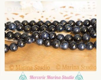 5 beautiful Hawk Eye beads * 8 mm blue tiger eye