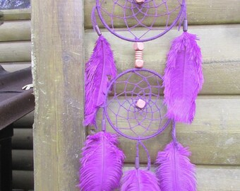 Dream catcher / Violet / ostrich feathers