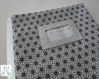 Protect health book - pattern Asanoha - light gray