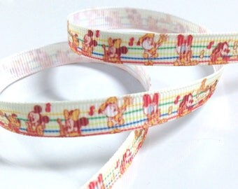 Printed grosgrain Ribbon * 10 mm * mouse Mickey Minnie Donald music stripe Cartoon - sold by the yard