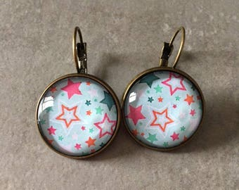 Stars - Earrings sleepers bronze cabochon glass 20mm