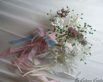 Bridal bouquet made of seed beads, wire, brass, satin and feathers - wedding ceremony