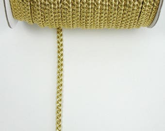 Cord braided gold faux leather 6 mm the meter