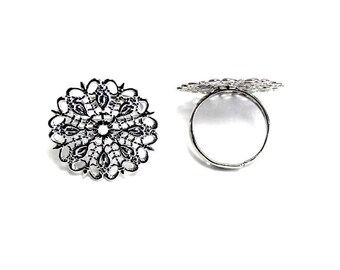 Supports the finger X 2 PCs silver metal adjustable filigree rings