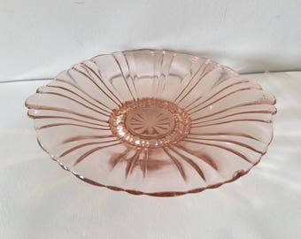 1930s Anchor Hocking Pink Glass Plate // Depression Era Blush Pink Glass Plate