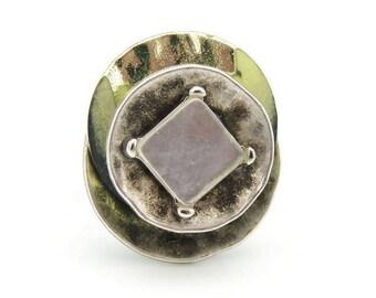 Silver ring green metallic ice
