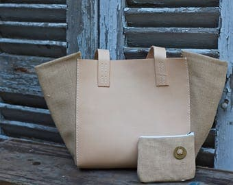 Leather and burlap Tote