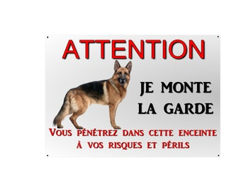 plate beware of dog German Shepherd 29x20cm aluminum metal about ref 14
