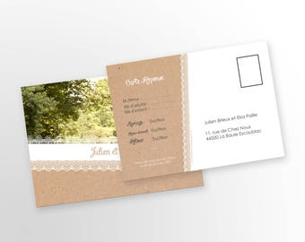 Wedding response card - country - to customize