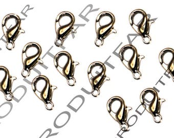 Set of 30 clips color 12 mm lobster clasps Platinum pendant necklace jewelry