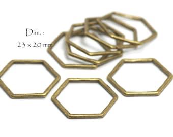 Closed Hexagon Honeycomb Connectors, Dim: 23 x 20 mm, Thickness 1.2 mm, Color Bronze (10 pcs)