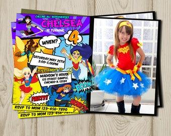 DC Superhero Girls birthday,  dc superhero girls birthday invitation, dc superhero girls printable, dc superhero girls invites