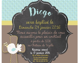 BAPTISM INVITATION personalized - printable