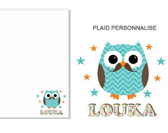 PLAID OWL A MOUSTACHE PERSONALISED WITH THE NAME OF YOUR CHOICE