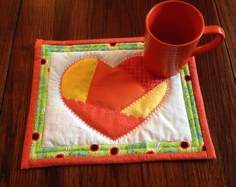 Orange Heart Mug Rug Set with 12 oz. mug