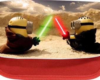 Personalised jedi minions zipped pencil makeup case school ds bag gift xmas