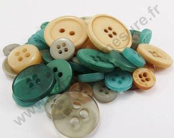Decorative button - Brown green - x50pcs