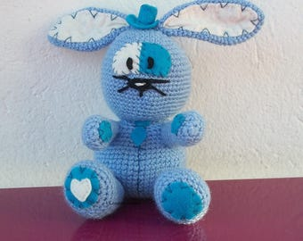 crocheted blue wool and felt Bunny