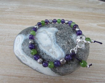 """Bracelet stones natural agate dragon and peridot """"Bombay"""""""