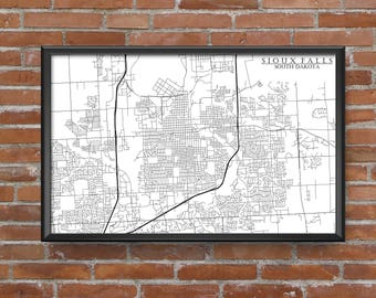 Sioux Falls, South Dakota Map Art
