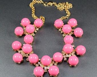 Vintage Talbots Pink Ball Rhinestone Gold Necklace