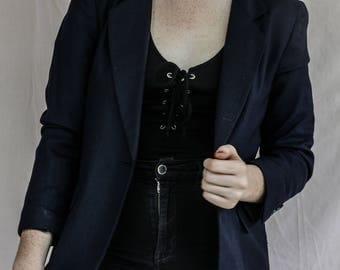 Liz Clairborne Navy Blue Blazer: Size Four, Vintage.