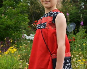 Children's dress red and black sleeveless (with matching purse)
