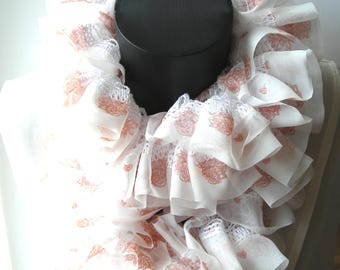White chiffon hand made ruffle scarf with roses she is about 120 cm