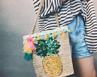 Personalised market basket, beach bag, initial bag, custom bag, french basket