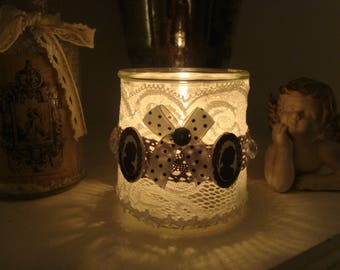 "Shabby romantic Style candle, ""Woman of the eighteenth century Silhouette"""
