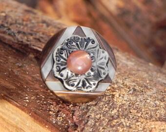 adjustable ceramic button ring e glass cabochon