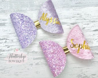 Personalised hair bow, large pink glitter bow, lilac hair clip, personalised headband, girls birthday gift, baby headband, personalised gift