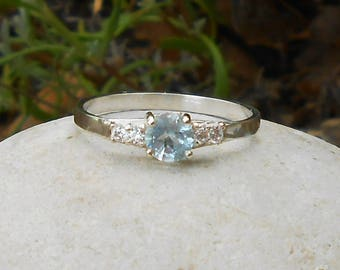 Hand made ring, 950 silver, Blue Topaz sky, CZ, gift for her, gift for her