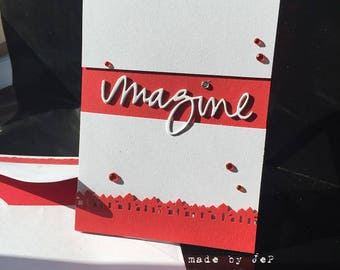 "card ""imagine"" unique cuts and embossed"