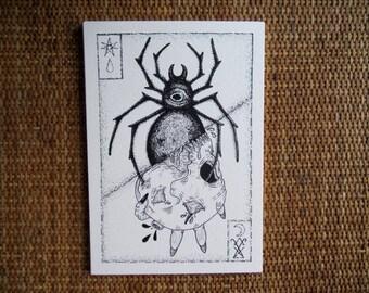 La Veuve Noire ~ screen-printed illustration