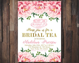 Bridal Tea Invitation, Bridal Shower Invitation, Floral Bridal Shower, Wedding Invitation, Watercolor Flowers, Printable Invitations 1092